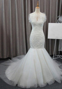 Elegant White Sleeveless Lace Mermaid Wedding Dresses Long Bridal Gown - EVERISA