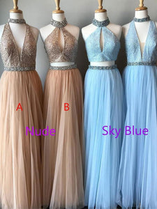 Elegant Halter Sleeveless Beaded Prom Dresses Cheap Evening Dresses - EVERISA
