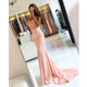 Elegant Pink Sweetheart Mermaid Satin Prom Dresses Long Evening Dress