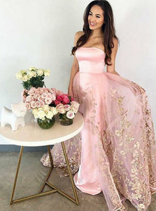 Pink Strapless Slim Line Satin Prom Dresses Affordable Evening Dresses
