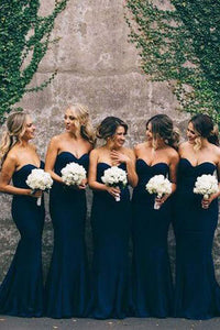 Elegant Navy Blue Sweetheart Backless Satin Prom Dress Cheap Bridesmaid Dresses - EVERISA