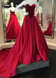Red Sweetheart Sleeveless A Line Prom Dresses Affordable Evening Dresses