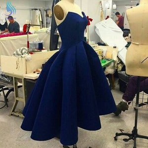 Navy Blue Sleeveless Backless High Low Prom Dresses Affordable Evening Dresses