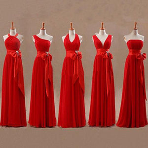 Different Styles Red A-Line Empire Chiffon Prom Dresses Long Bridesmaid Dresses - EVERISA