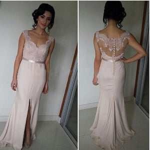 Blush Pink Sweetheart Sleeveless Slit Prom Dresses Mermaid Bridesmaid Dresses - EVERISA