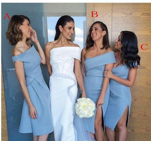 Different Style Blue Off Shoulder Bridesmaid Dresses Short Prom Dresses