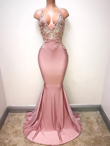 Sexy Blush Pink Sleeveless Beaded Prom Dresses Long Evening Dresses - EVERISA