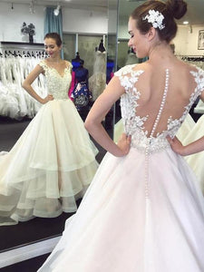 A-Line Wedding Dresses V-Neck Cap Sleeves Long Bridal Gown - EVERISA