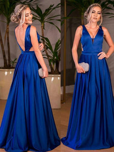 V Neck Backless A line Evening Dresses Cheap Prom Dresses With Sleeveless
