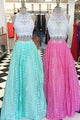 Two Piece Sleeveless A Line Prom Dresses Affordable Bridesmaid Dresses - EVERISA