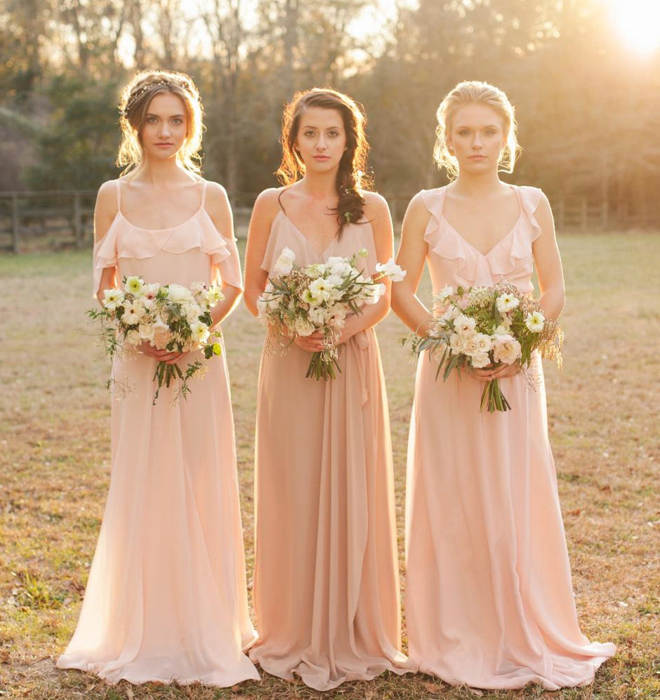 wholesale dealer buy online half price Different Style Blush Pink Chiffon Bridesmaid Dresses Long Prom Dresses  With Sleeveless