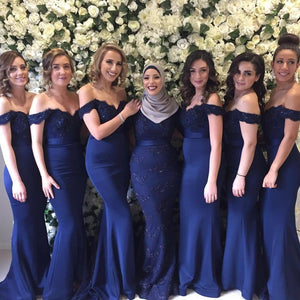 Sexy Royal Blue Off Shoulder Floor-Length Satin Bridesmaid Dresses Affordable Prom Dress - EVERISA