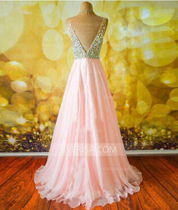 Fashion V Neck Backless Chiffon Long Prom Dresses A Line Evening Dresses - EVERISA
