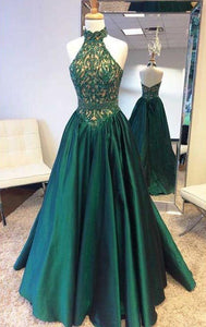 Sleeveless Halter Lace Beaded Prom Dresses,A Line Graduation Dresses