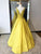 Yellow V Neck Lace Beaded Prom Dresses,A Line Satin Graduation Dresses - EVERISA
