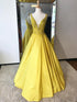 Yellow V Neck Lace Beaded Prom Dresses,A Line Satin Graduation Dresses