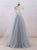Grey V Neck Backless Prom Dresses,Lace Appliques Graduation Dresses - EVERISA