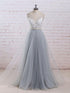 Grey V Neck Backless Prom Dresses,Lace Appliques Graduation Dresses