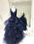 Navy Blue Sleeveless A Line Prom Dresses,Lace Appliques Evening Dress