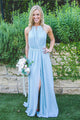 Charming Pale Blue High Split Sleeveless Chiffon Bridesmaid Dress Long Evening Dress - EVERISA