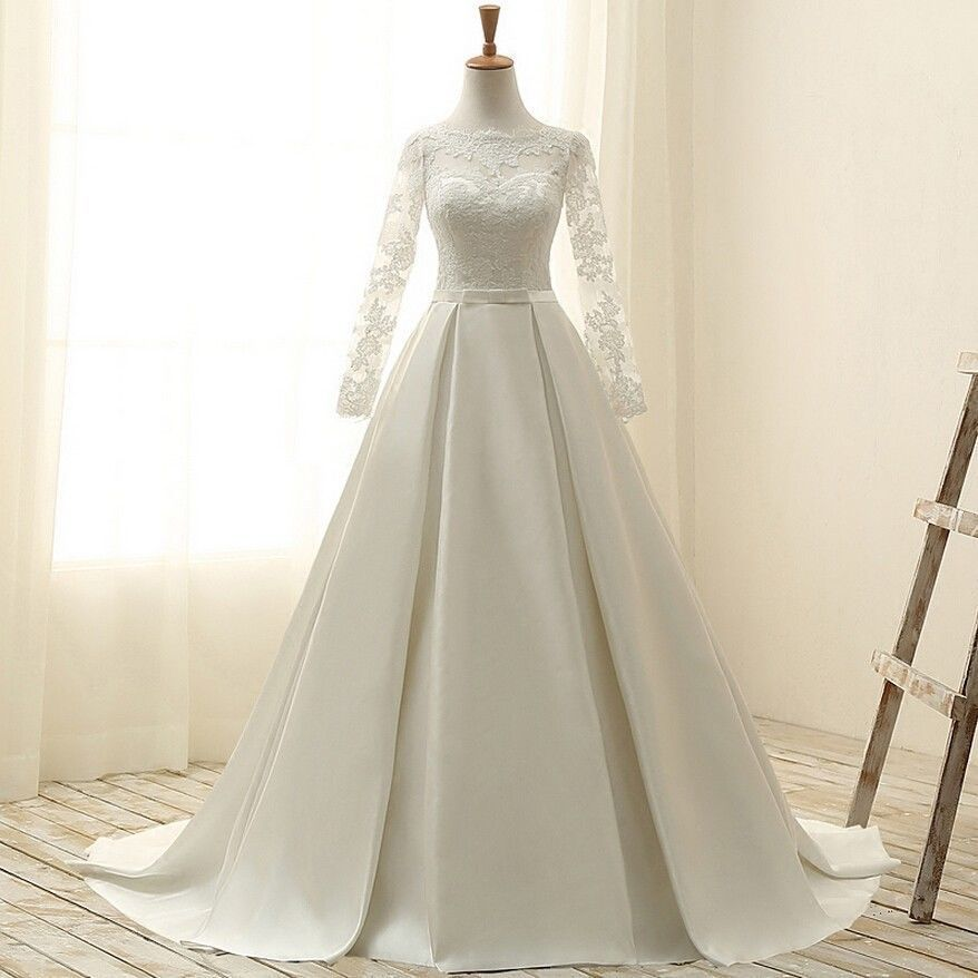 Long Sleeves A Line Wedding Dresseslace Appliques Satin Bridal