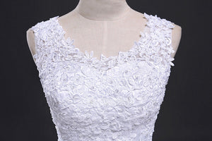 White Scoop Neck Sleeveless Wedding Dresses,Lace Applique Bridal Gown