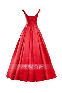 Elegant Red A-Line V-Neck Satin Bridesmaid Dress Long Bridesmaid Dresses - EVERISA