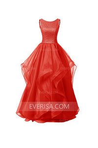 Charming Red Scoop Neck Backless Organza Evening Dress Long Prom Dresses - EVERISA