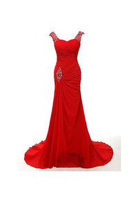 Elegant Red Sweetheart Empire Chiffon Prom Dress Long Evening Dress with Sleeveless - EVERISA