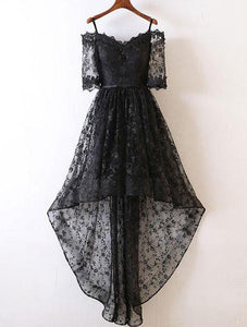 Black Half Sleeves Lace Homecoming Dresses,High Low Cocktail Dresses