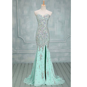 Sleeveless Side Slit Mermaid Prom Dresses,Rhinestones Evening Dresses