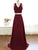 Burgundy V Neck Cross Back Prom Dresses,Two Pieces Evening Dresses - EVERISA