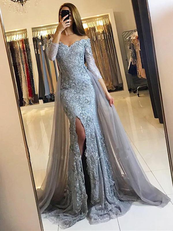 172c542f90 Grey Long Sleeves Side Slit Lace Prom Dresses