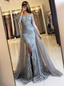 Grey Long Sleeves Side Slit Lace Prom Dresses,Mermaid Evening Dresses - EVERISA