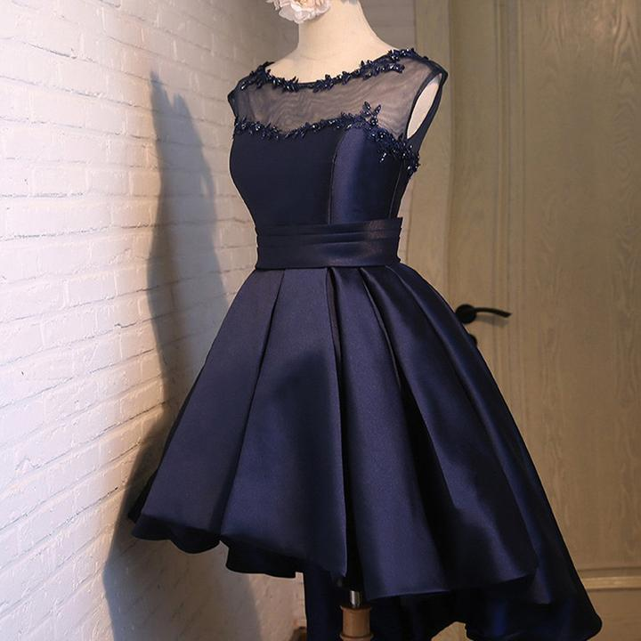 Navy Blue Sleeveless Homecoming Dresseshigh Low Cocktail Dresses