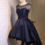 Navy Blue Sleeveless Homecoming Dresses,High Low Cocktail Dresses