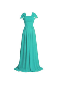Elegant Ice Blue Cap Sleeveless Empire Chiffon Prom Dress Cheap Evening Dresses - EVERISA