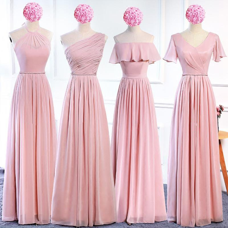 dce1faa592c3c Blush Pink Sleeveless A Line Ruffles Chiffon Long Bridesmaid Dresses ...