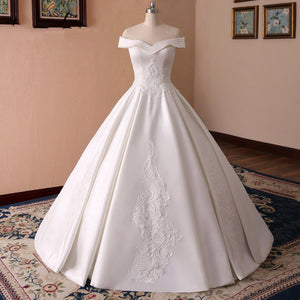 White Off Shoulder Lace Applique Wedding Dresses,Satin Bridal Gown - EVERISA