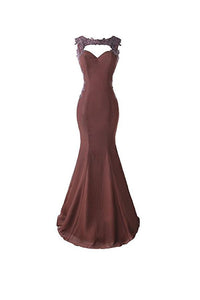 Elegant Grape Sweetheart Sleeveless Satin Prom Dresses Bridesmaid Dress With Lace - EVERISA
