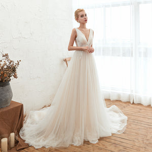 V Neck Sleeveless Backless Lace Applique Long Wedding Dresses
