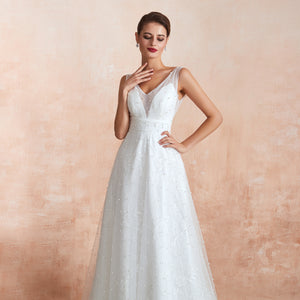 V Neck Sleeveless Backless A Line Tulle Wedding Dresses With Pearls