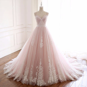 Pink Sweetheart Lace Appliques Wedding Dresses,Sleeveless Bridal Gown