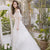 White Long Sleeves Backless Wedding Dresses,A Line Lace Bridal Dresses - EVERISA