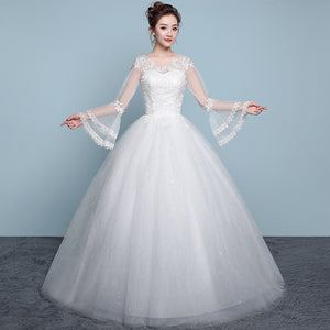 Scoop Neck Long Sleeves Wedding Dresses,Lace Appliques Bridal Dresses