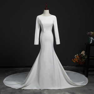 Scoop Neck Long Sleeves Mermaid Wedding Dresses,Satin Bridal Dresses