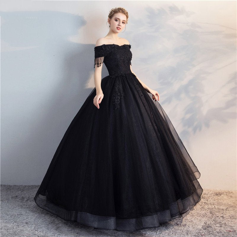 Black Wedding Dress with Lace