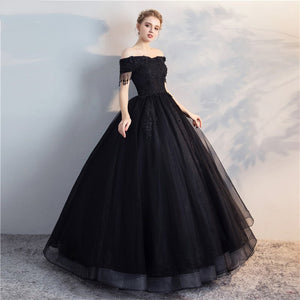 Black Off Shoulder Lace Applique Wedding Dresses,A Line Bridal Dresses