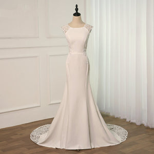 Scoop Neck Sleeveless Satin Mermaid Wedding Dresses With Lace