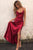 Burgundy Halter Cross Back Prom Dresses,Sleeveless Evening Dresses